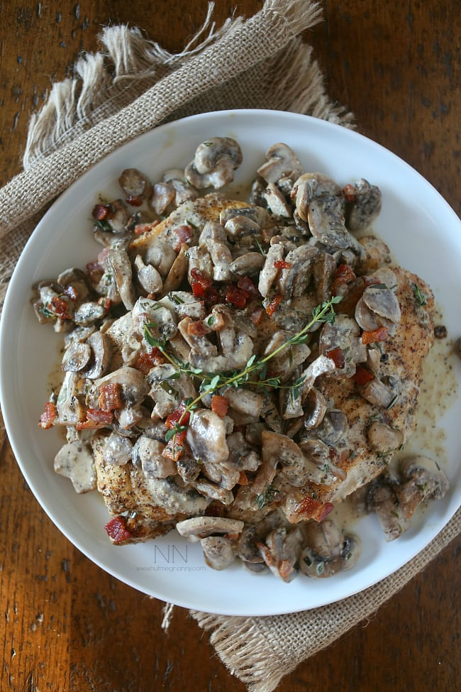 This creamy chicken bacon and mushrooms is the perfect weekday meal. Made all in one skillet and packed full of flavor. Perfect over top noodles or potatoes.