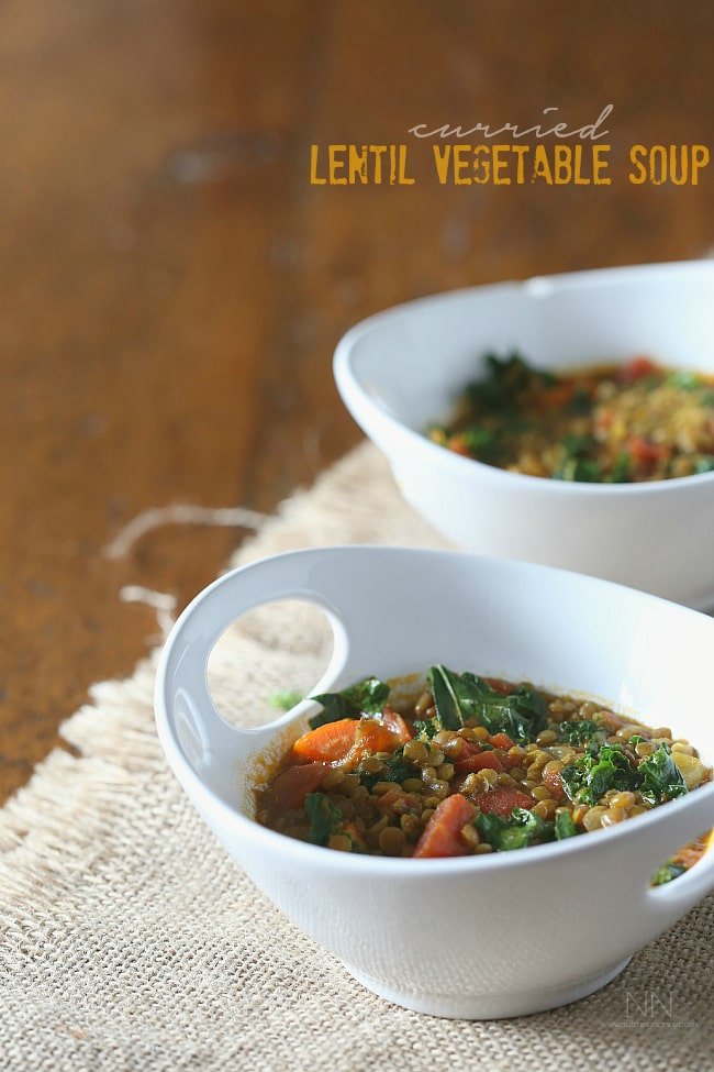 This curried lentil vegetable soup is packed full of small green lentils, fresh chopped root vegetables, a handful of kale and a sprinkling of curry powder. Plus it's ready in under an hour!