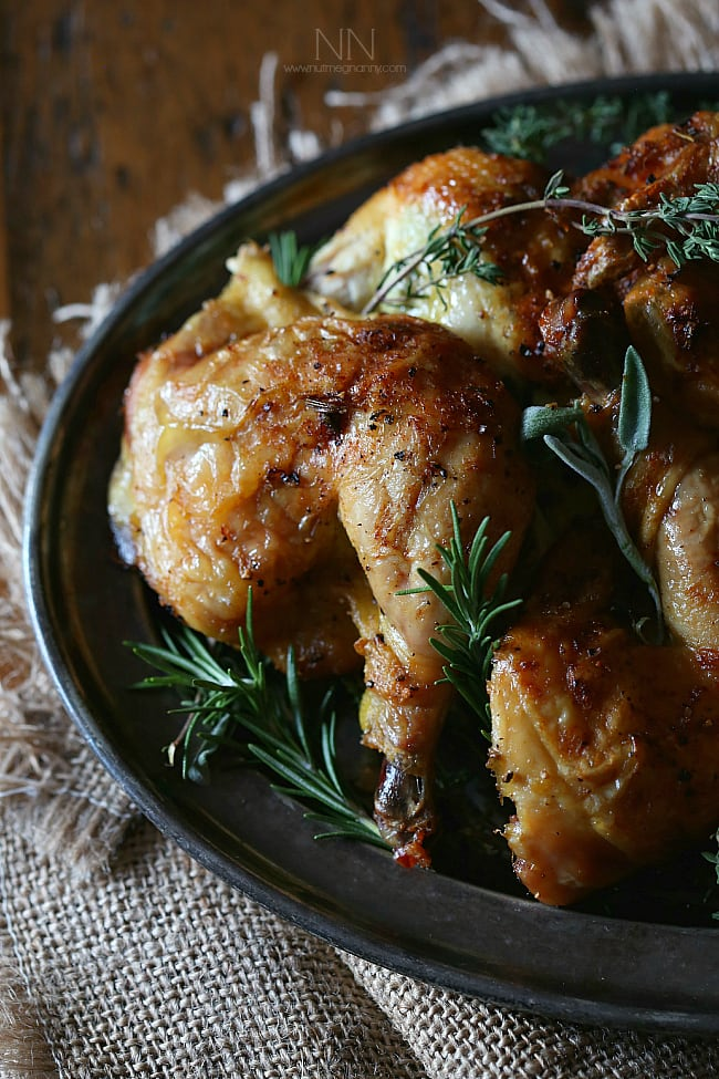 This lemon herb spatchcock Cornish hen is the perfect way to evenly cook Cornish hens. Simply cut, lay flat and rub with lemon herb butter. Hello dinner!