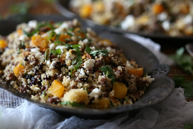 This Moroccan lamb couscous is packed full of spiced ground lamb, dried apricots, currants, fresh herbs and couscous. Plus it's ready in just 30 minutes!