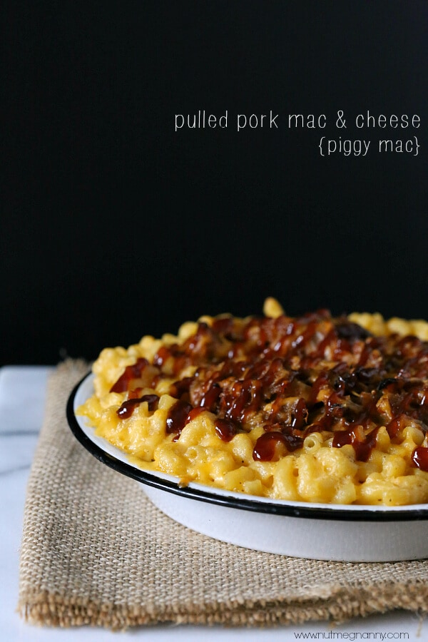 This pulled pork mac and cheese is packed full of sharp cheddar cheese and lots of slow cooker pulled pork. For added flavored I drizzled the top with even more BBQ sauce.
