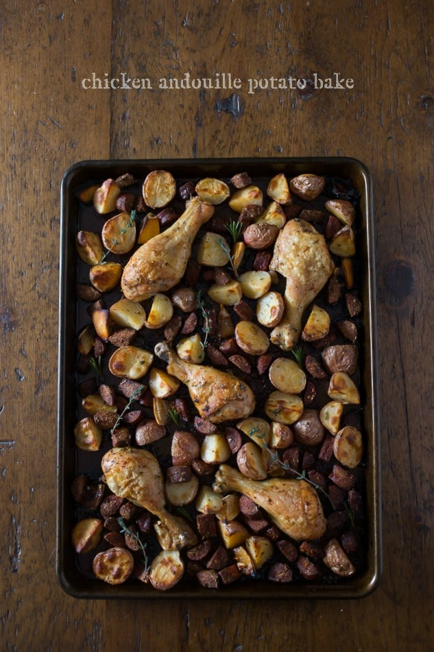 This simple chicken andouille potato bake is perfectly seasoned with fresh herbs and a burst of lemon. It's the perfect balance of flavorful spice.