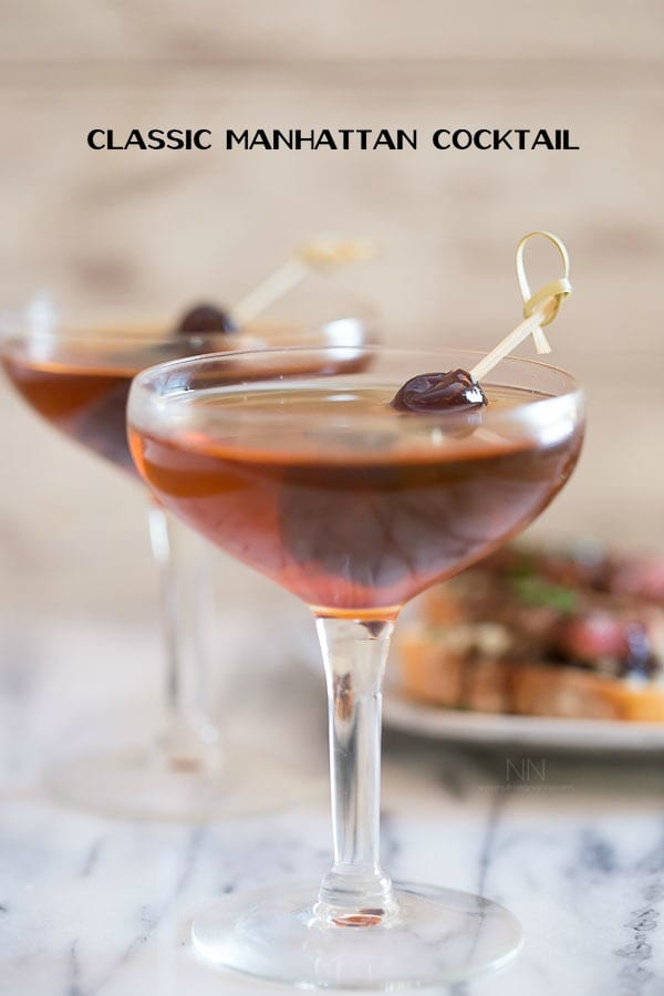 This classic Manhattan cocktail is just what Don Draper ordered! It's needs only a few simple ingredients and is ready in just 3 minutes!