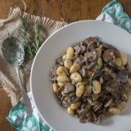 This super creamy creme fraiche mushroom gnocchi is the perfect meatless meal. Full of meaty mushrooms and just a touch of fresh herbs. Ready in just 30 minutes!