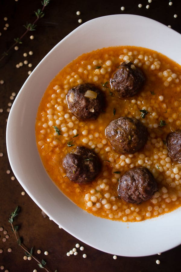 This lamb meatball couscous soup is packed full of homemade meatballs and Israeli couscous. Plus it's ready in under an hour!