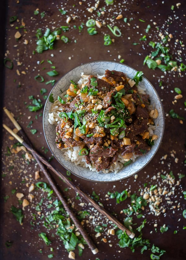 This spicy beef with peanuts combines perfectly flavored quick marinaded beef, peanuts and cilantro served over light brown basmati rice. Plus it's ready in just 25 minutes!