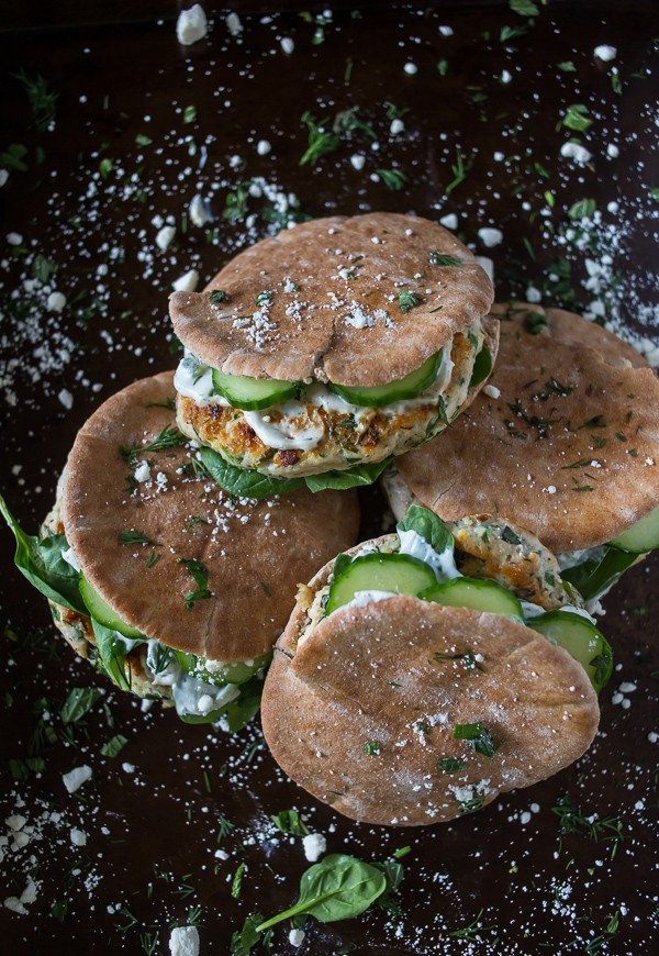 These totally delicious chicken souvlaki burgers are packed full of fresh herbs and feta cheese. Stuffed into a pita and served with tzatziki sauce and crispy fresh cucumbers.