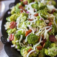 This broccoli bacon salad is creamy, crunchy and packed full of flavor. A delicious mixture of broccoli, bacon, red onion, mozzarella cheese and creamy homemade dressing. Say hello to your new favorite salad!