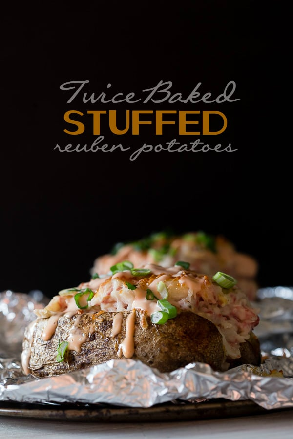 These twice baked stuffed reuben potatoes are stuffed with corned beef, sauerkraut, Swiss cheese and Russian dressing. These babies are totally stuffed and perfect for St. Patrick's Day.