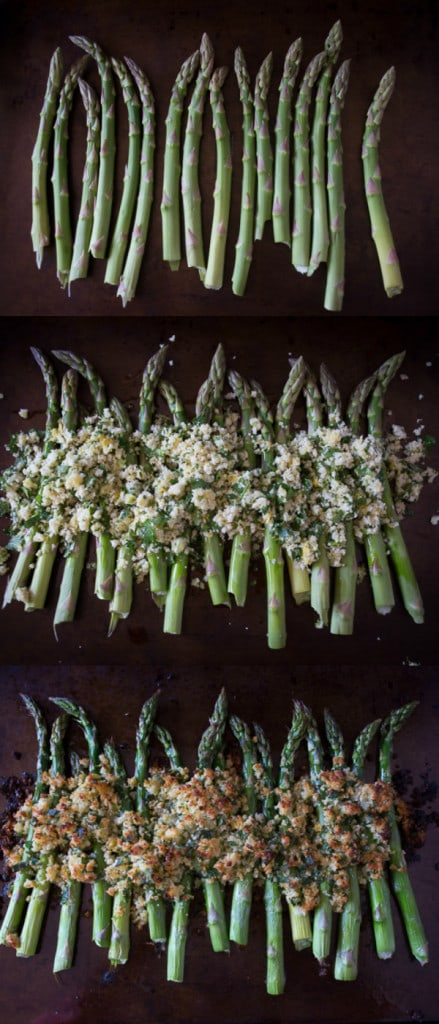 This super simple asparagus gratin takes fresh asparagus and tops it with zesty lemon, herb and Parmesan cheese panko bread crumbs. This side dish is spring time perfection.