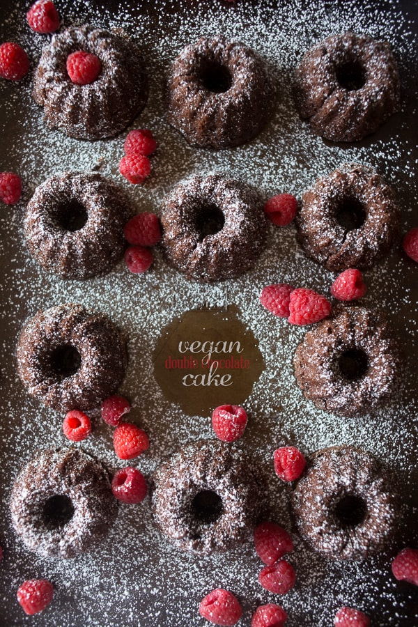 These vegan double chocolate cakes are packed full of chocolate flavor, white whole wheat flour, coconut palm sugar and made with sweet vanilla soy milk. The best part is that these little beauties are made in under 30 minutes!