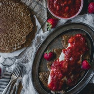 These buckwheat crepes with strawberry rhubarb compote and vanilla creme fraiche are the perfect way to celebrate spring. Plus they are naturally gluten free!