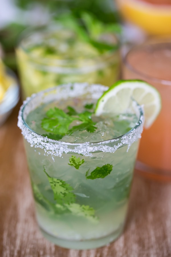 This cilantro margarita is perfect for cinco de mayo or any day of the year. Perfectly sweet with a fresh burst of lime and a hint of fresh cilantro.