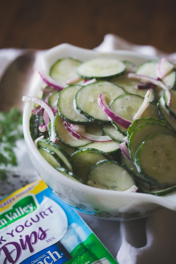 This tangy Greek yogurt ranch cucumber salad is the perfect summertime side dish. Super simple to throw together and sure to please a crowd.