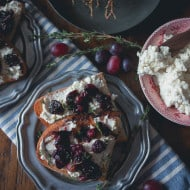 This roasted grape crostini is flavored with fresh thyme and piled high on top of ricotta toast. It's a sweet and savory appetizer that's perfect anytime of the year.