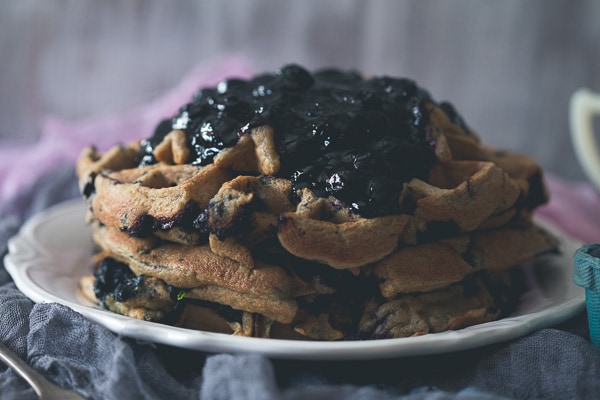 These blueberry zucchini oat waffles are the perfect way to use up those summer vegetables and fruit. Plus you can make oat flour right in your Vitamix!