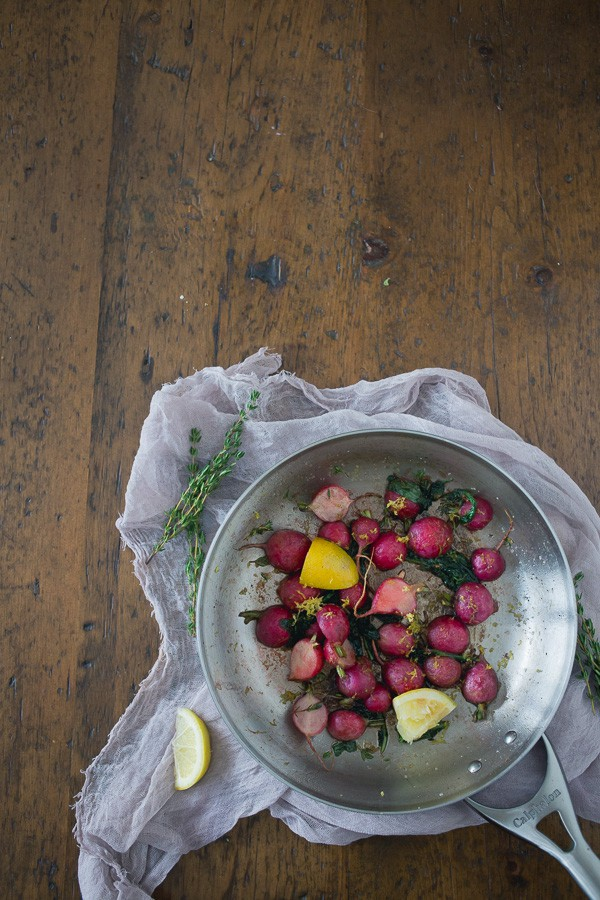 These pan roasted brown butter radishes are the perfect way to use up all those summer garden radishes. Perfectly sweet, slightly nutty and just a hint of fresh lemon.