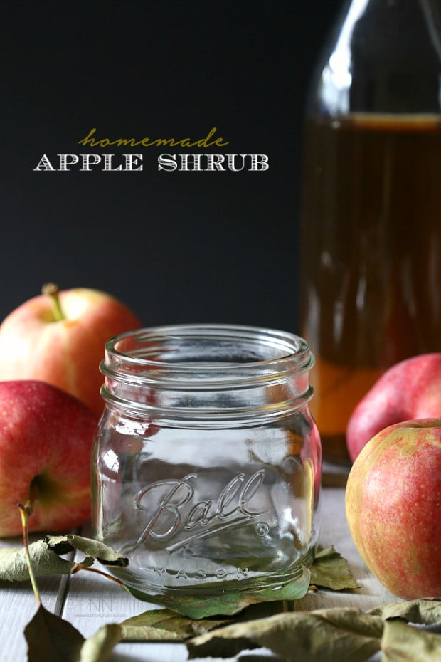 This homemade apple shrub is made using just freshly shaved apples, apple cider vinegar and sweet dark brown sugar. It's the best way to welcome fall.