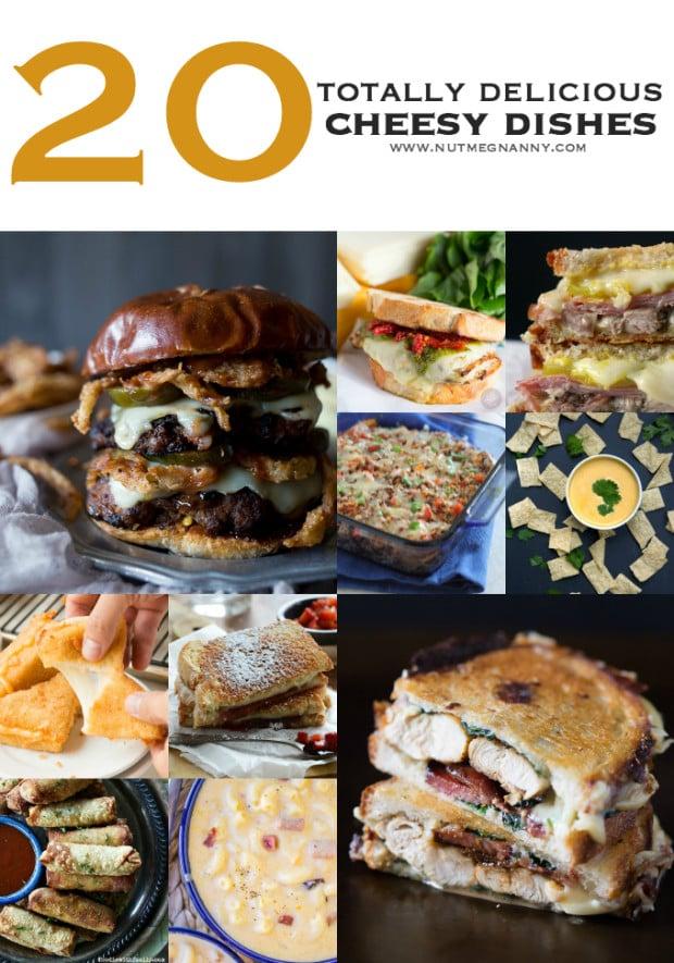 This cheesy round-up gives you 20 totally delicious cheesy dishes. From appetizer to main course I have you covered. It's time to give into the cheese!