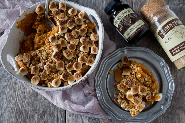 This vanilla sweet potato casserole is a modern spin on the classic Thanksgiving casserole. Lightly sweet, full of vanilla flavor and ready in just 30 minutes!