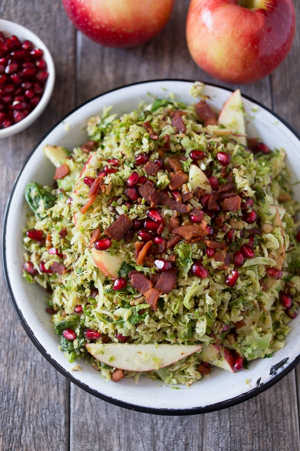 and pomegranates seeds all drizzled with a simple maple vinaigrette