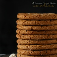 These sweet and spicy molasses ginger raisin cookies are perfect served alone or dipped in a cold glass of milk. Delicious on your holiday cookie tray.