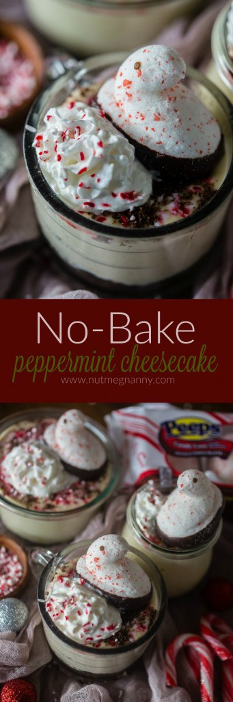 This no bake peppermint cheesecake is perfect for the holidays. Light and fluffy and topped with whipped cream, crushed peppermint candies and PEEPS.
