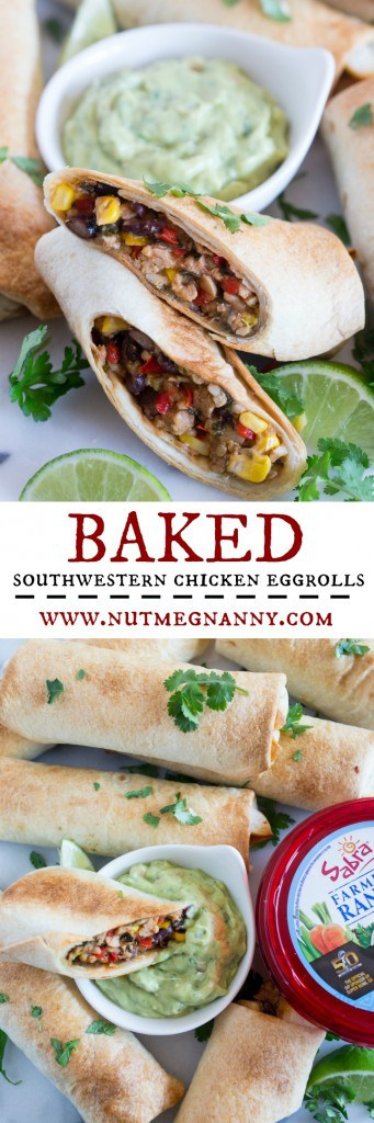 These baked Southwestern chicken egg rolls taste just like the ones you get at Chili's but without all the deep fried calories because they're baked!  Perfect when served with guacamole ranch Greek yogurt dip.
