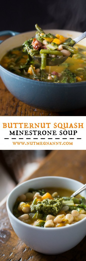 This butternut squash minestrone soup is the perfect winter meal. This simple soup is ready in an hour and packed full of hearty vegetables and ham.