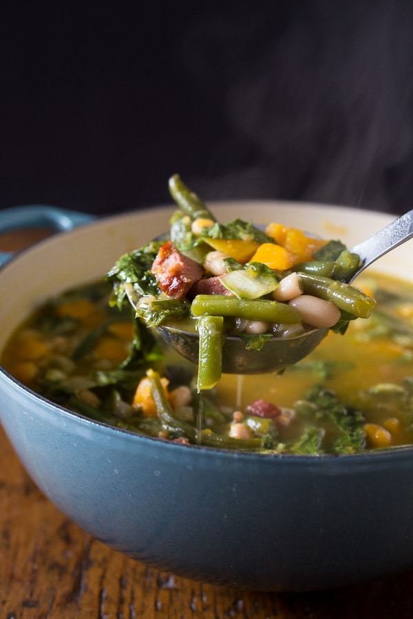 This butternut squash minestrone soup is the perfect winter meal. It's packed full of hearty vegetables and ham and ready in just about an hour!