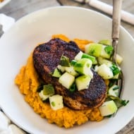 These spiced pork chops with charred poblano apple salsa is the perfect cold weather meal. The pork chops are quickly pan fried and served over easy mashed sweet potatoes and topped with an addictive charred poblano apple salsa.