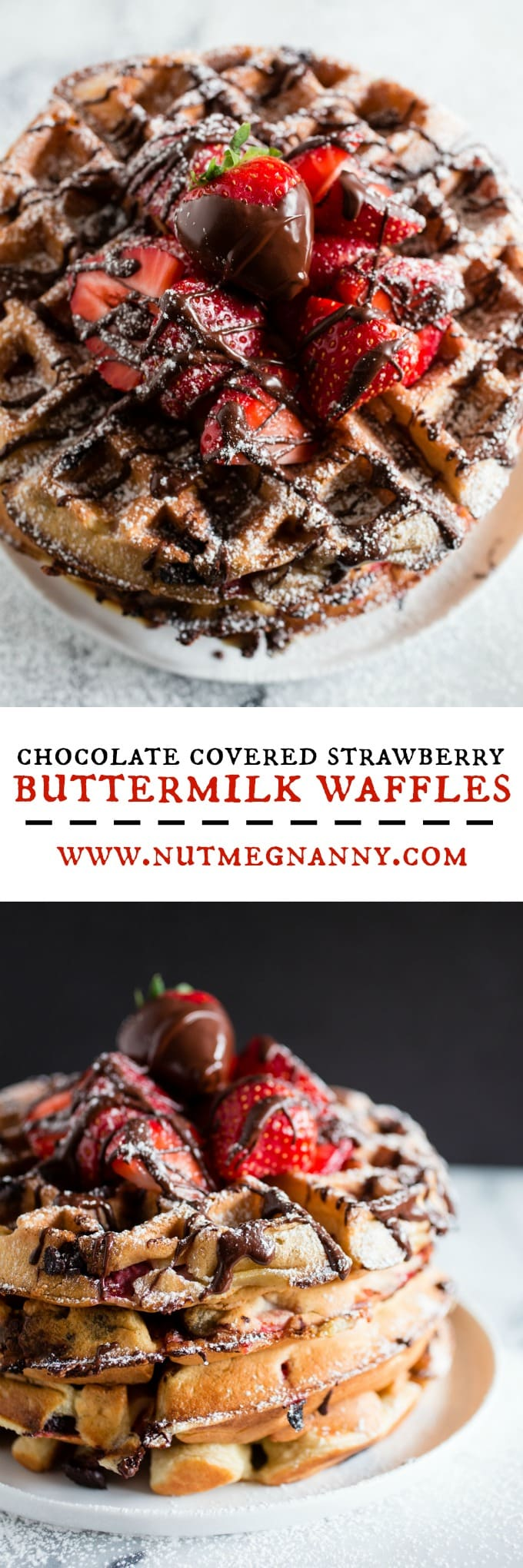 These chocolate covered strawberry buttermilk waffles are the best breakfast you will ever have! Fresh berries tucked inside a fluffy buttermilk waffle and then drizzled with melted chocolate. How can you not love that?