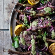These grilled lamb chops with pistachio mint pesto is a fun way to jazz up your Easter dinner. The whole dish is ready in just 20 minutes and is packed full of springtime flavor. Lightly seasoned lamb drizzled with a homemade pesto that is sure to impress even your pickiest of eaters.
