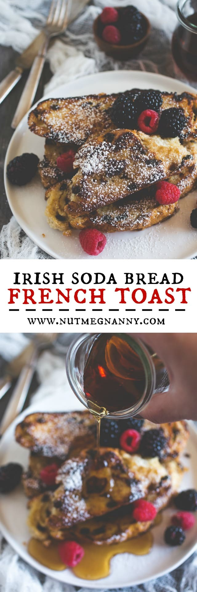 This Irish soda bread French toast is toasted until browned and topped with powdered sugar and fresh berries. Say hello to breakfast! You're gonna love it!