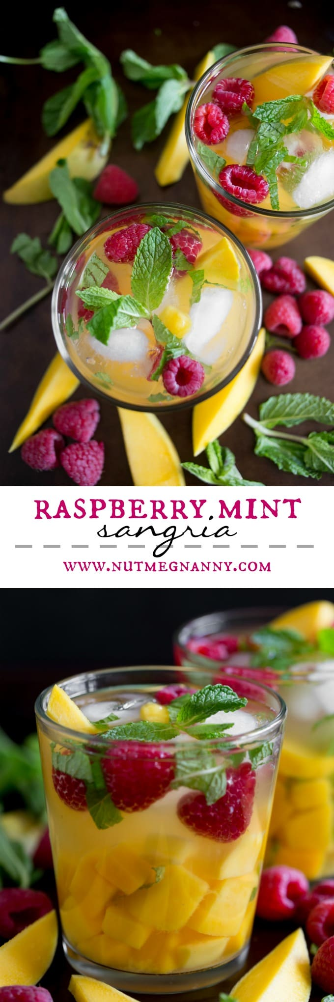 This raspberry mango sangria is the perfect addition to your Easter table. Slightly sweet and packed with fresh raspberries, mango and mint. Easy to make and even easier to drink!