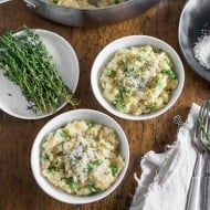 This pea Parmesan risotto is minimal stir and turns out perfectly creamy. It's packed full of fresh lemon zest, sweet spring peas and sharp Parmesan cheese.