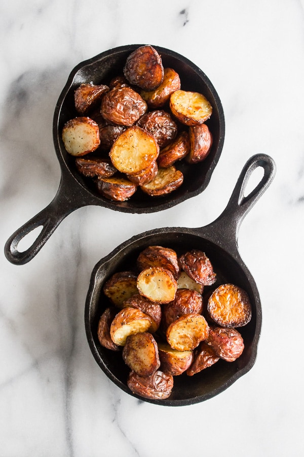 These perfect roast potatoes come out of the oven perfectly seasoned and perfectly crispy. I know that's a lot of perfect for one sentence but these potatoes live up to their name!