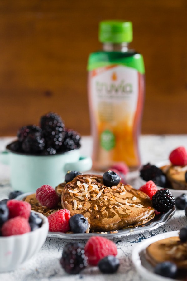 These toasted coconut espresso pancakes are lightly sweetened, filled with toasted coconut and topped with fresh berries and Truvia nectar. So simple to make and packed full of espresso flavor.