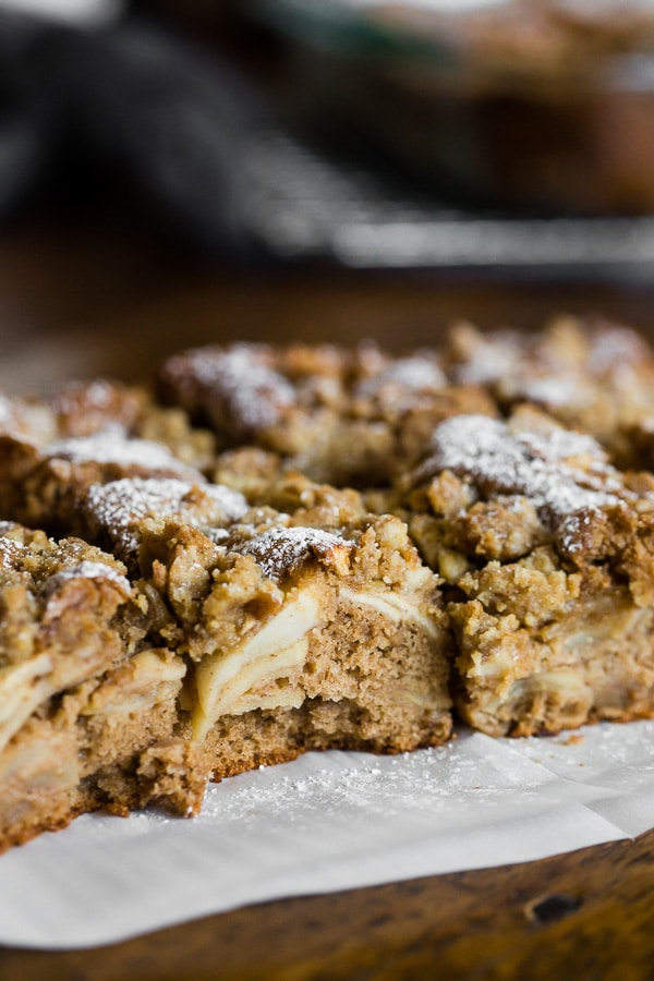 This spiced apple pie coffee cake is the perfect addition to your fall dessert menu. Fresh apples baked into a spice cake and topped with a buttery crumble topping. You'll love how easy this dessert is to make and your whole family will be begging for a slice.