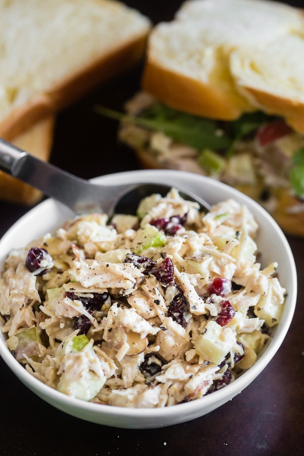 This honey mustard hummus chicken salad is PACKED full of chicken breast, honey mustard hummus, apples, dried cranberries and minced rosemary. It's the perfect way to jazz up your everyday average chicken salad.