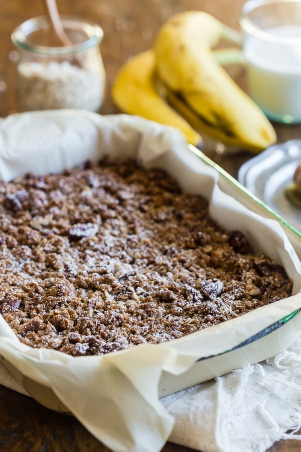 This banana bread crisp is the perfect balance of moist banana bread and crunchy oatmeal topping crisp. It's 100% comfort food taken to a whole new level. Trust me, even banana bread purists will love this twist!