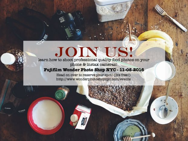Join Nutmeg Nanny and Running to the Kitchen for a FREE class on how to take professional looking food photographs at the NYC Fujifilm Wonder Photo Studio.