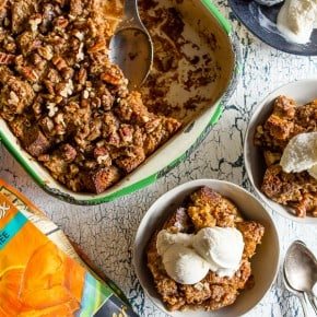 This pumpkin cream cheese bread pudding is not only gluten-free but it's packed full of fall flavor and perfect when served with a scoop of vanilla ice cream. Plus the pumpkin bread is soaked in a cream cheese mixture so you know it's bound to be delicious!