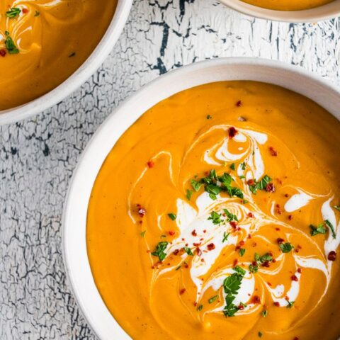 This creamy red lentil carrot soup is ready in just 30 minutes and is the perfect easy holiday and weeknight rush dinner. Keep it vegan by skipping the Greek yogurt topping or give yourself a big dollop - the choice is totally yours!