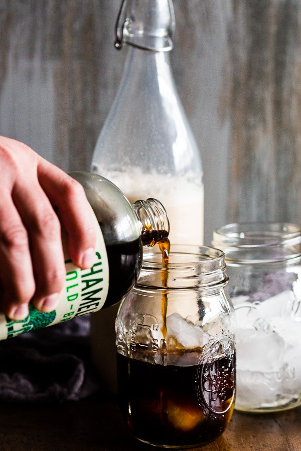 This homemade vanilla bean horchata iced coffee is downright delicious. Homemade horchata made with lots of vanilla beans and cinnamon and then mixed with cold brew coffee. This drink is made for all you iced coffee lovers!
