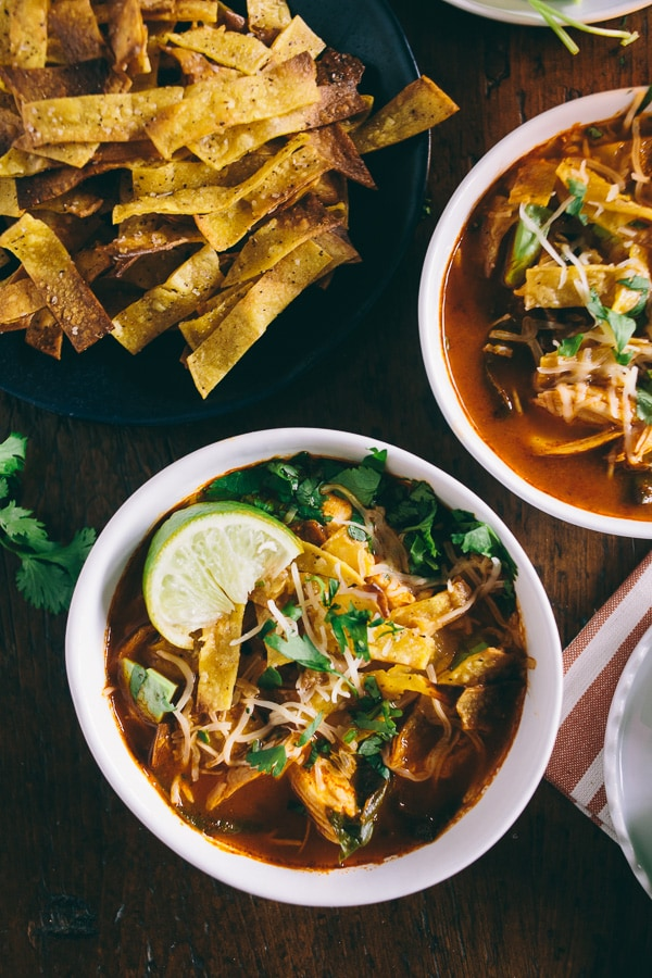 This chicken and chard tortilla soup is the perfect family dinner. It's ready in just about an hour so you can feast in no time!