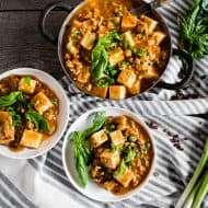 This ground pork mapo tofu is a straight up Asian comfort food. Packed full of ground pork, firm tofu, ginger, green onions, hoisin sauce and garlic chile sauce. This dish is hearty and best served over rice or just straight from the pot!