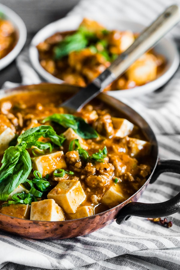 This ground pork mapo tofu is a straight up Asian comfort food. Packed full of ground pork, firm tofu, ginger, green onions, hoisin sauce and garlic chile sauce. This dish is hearty and best served over rice or just straight from the pot! Plus it's ready in just 30 minutes!