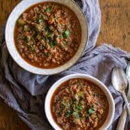 This ground pork Chinese chili is the perfect combination of Asian flavors and comforting chili. You'll love this twist to a classic cold weather dish. Packed full of flavors like ginger, hoisin, five-spice powder, beer and hot chili oil. This is going to be your new favorite way to make chili!