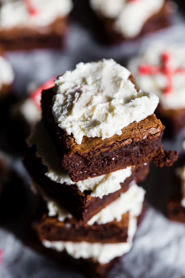 These espresso chocolate chip brownies are super fudgy and topped with a homemade fluffy vanilla bean buttercream. These are the type of brownies that will have you sneaking into the kitchen at midnight for a snack. Plus they are super simple to make!